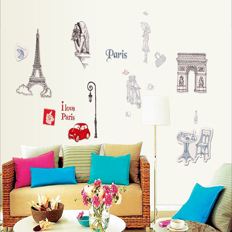 free shipping removable eiffel tower wall sticker 3d wall decoration wall sticker home for living room bedroom vinyl stickers. beautiful ideas. Home Design Ideas