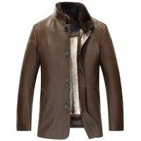 Для мужчин норки Мех животных на Подкладке из Овчины куртка повышения ваша защита от ветра и холода Luxe натуральная Мех животных пальто для Д