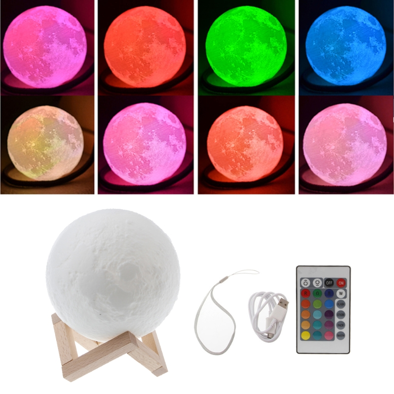 HNGCHOIGE 1Set 3D USB LED Magical Moon Night Light Table Desk Lamp Birthday Gift+Remote