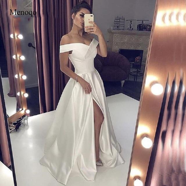 Sexy Decote Em V Longo Branco Vestido de Noite Com Alta de Split Elegante A-line da Mulher Fora do Ombro Especial Ocasião Vestidos Formais 2019