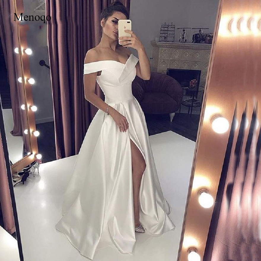 Sexy V Neck Long White   Evening     Dress   With High Split Elegant A-line Woman Off the Shoulder Special Occasion Formal Gowns 2019