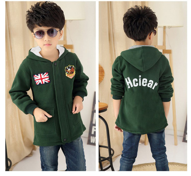 New 4-12Y Boys Winter Coat Fashion Print Zipper Green Yellow Red Yellow Kids Wool Coats Jacket Boys Children Outerwear KC-1702-2