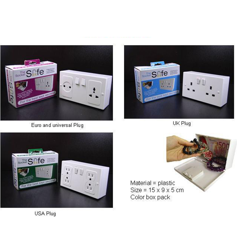 Wall Plug Socket Safes Anti-theft Fake Socket Hidden Secret Safe Box Money Jewelry Valuables Storage Case Safety Collection Box