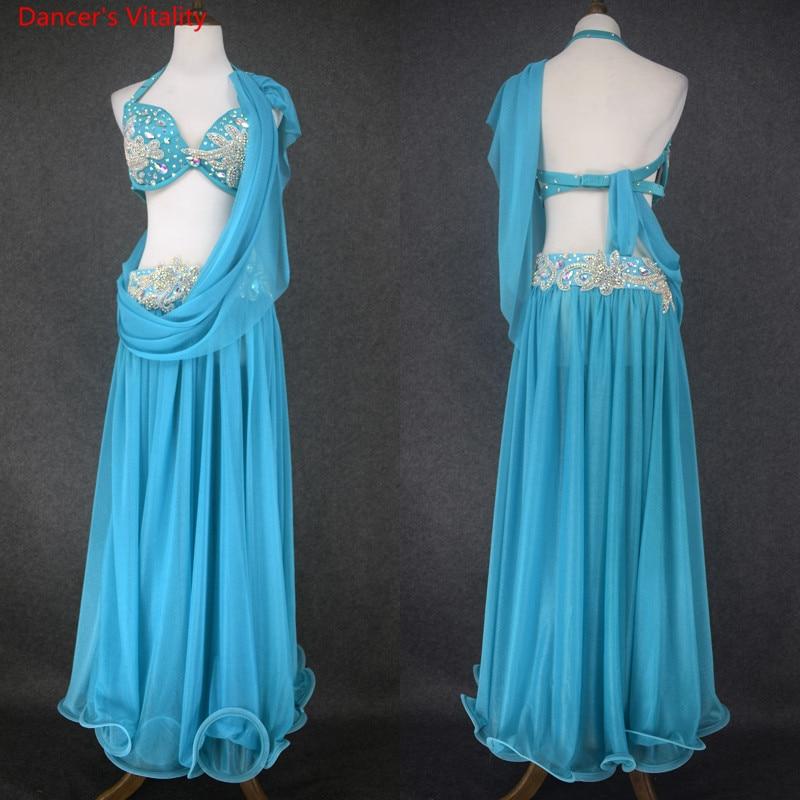 New Women Belly Dance Suit Belly Dancing Performance Clothes  Diamond Bra+Transparent Gauze Big Swing Skirt+Scarf 3Pcs Sets