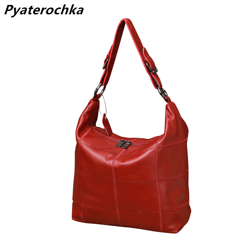 Pyaterochka Brand Big Genuine Leather Shoulder Bag Ladies Handbags Plaid Women Crossbody Bags High Quality Casual Totes Bao Bao dlkluo 2017 luminous women bao bao bag high end geometric handbags plaid shoulder diamond lattice baobao ladies messenger bags
