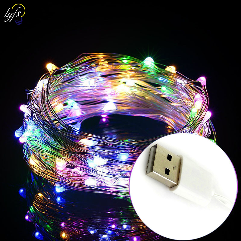 LYFS 2M 20 LED USB Power Copper Wire LED String Lights For Holiday Party Wedding Garland Christmas Decoration Lamp