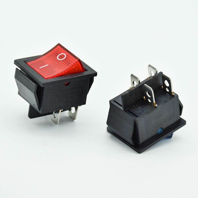 5 шт./лот блокирующий клавишный выключатель питания I/O 4 контакта с подсветкой 16 А 250 В переменного тока 20 А 125 В переменного тока KCD4