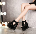 Nightclub 14cm waterproof ultra-high platform shoes with thick soles hollow fish head slope with sexy sandals women