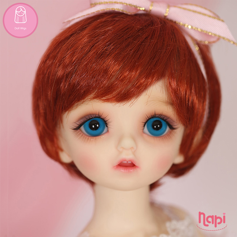 Wig For Doll BJD 1/6 Short Straight 6.6 Inch NAPI Karou Shinee Lovely-temperature Natural  Wig Baby Hair Doll BJD L6-07#704Color