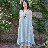 2015 Summer Style Solid Linen Sleeveless Women Long Maxi Dress Brand Casual Loose Boho Tank Women