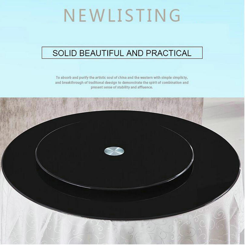 HQ BL01 Black Color 68-118CM/26-46INCH Tempered Glass Top With Lazy Susan Glass Turntable Swivel Plate For Round Dining Table