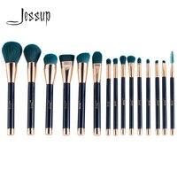 Jessup 15pcs Makeup Brushes Set Powder Foundation Eyeshadow Eyeliner Lip Contour Concealer Smudge Brush Tool Blue