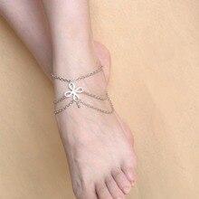 5071 New Vintage Boho Silver Color Tassel ChineseKnot Pendant MultiLayer Chain Link Anklet Bracelet Foot Jewelry