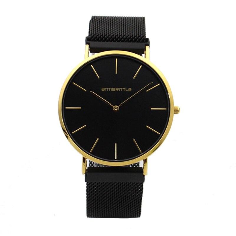 Luxury Quartz Black Gold Men Minimalist Watch Ultra Thin Magnet Stainless Steel Real Lea ...