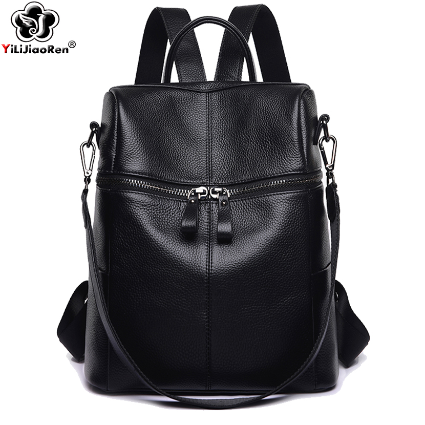 Casual Genuine Leather Backpack Female 2019 Luxury COW Leather Backpack Women Large Capacity School Bags For Teenagers Girls
