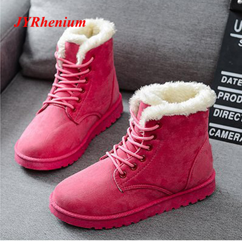 цена JYRhenium 2018 New Women Boots Winter Warm Snow Boots Women Botas Mujer Lace Up Fur Ankle Boots Ladies Winter Women Shoes Black