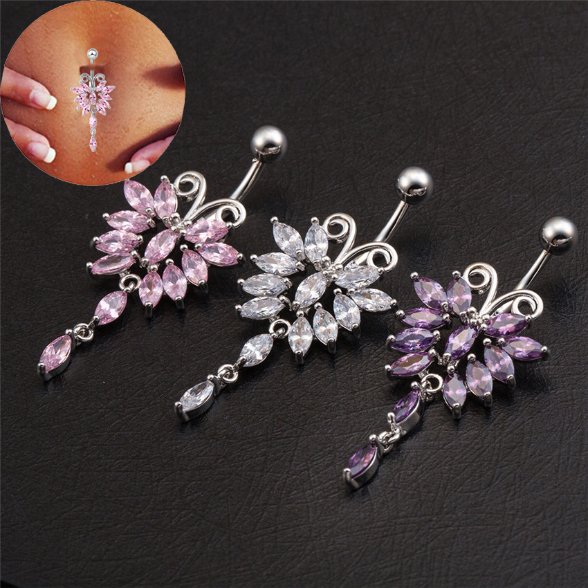 Butterfly Titanium Belly Rings Navel Piercing Nombril Clear / Pink / Purple Cubic Zirconia Belly Button Rings Free Shipping