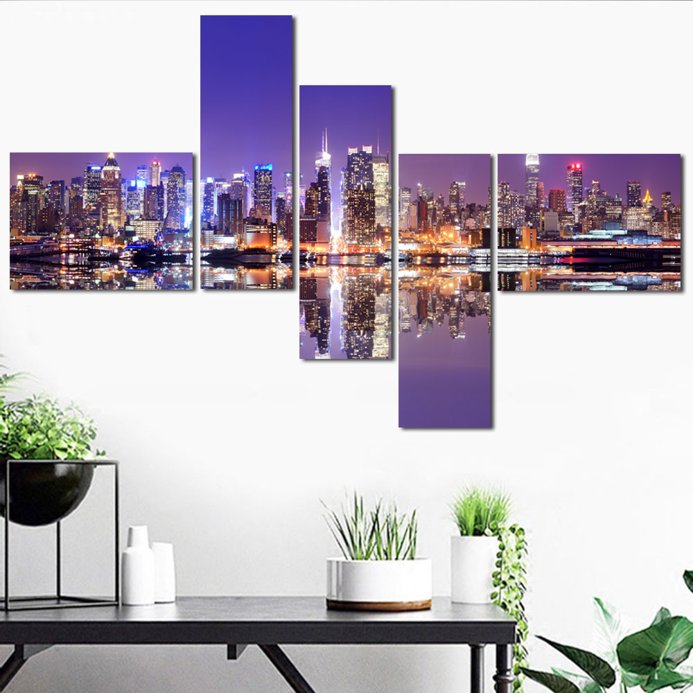 5 Panel Wall Art Poster Modern City Night View Canvas Painting HD Print Urban Landscape Pictures for Living Room Decor Unframed