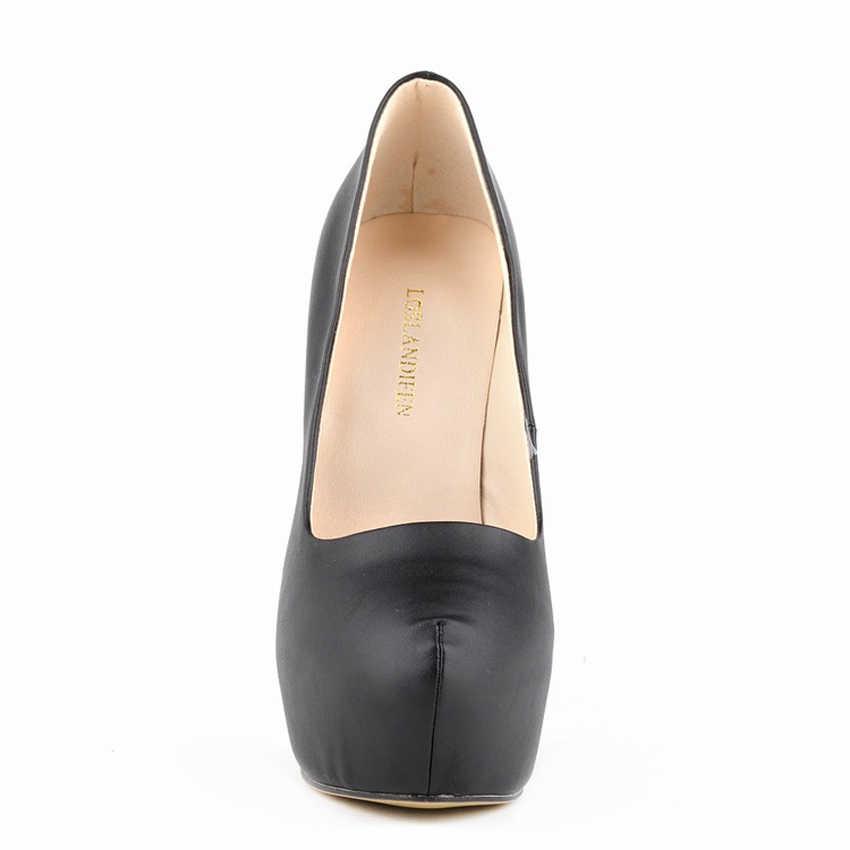 LOSLANDIFEN Kadın Pompaları Ultra Çok Yüksek Topuklu Kadın Platformu Yuvarlak Ayak Mat Deri Stilettos Elbise Parti Fetiş Ayakkabı Artı Boyutu