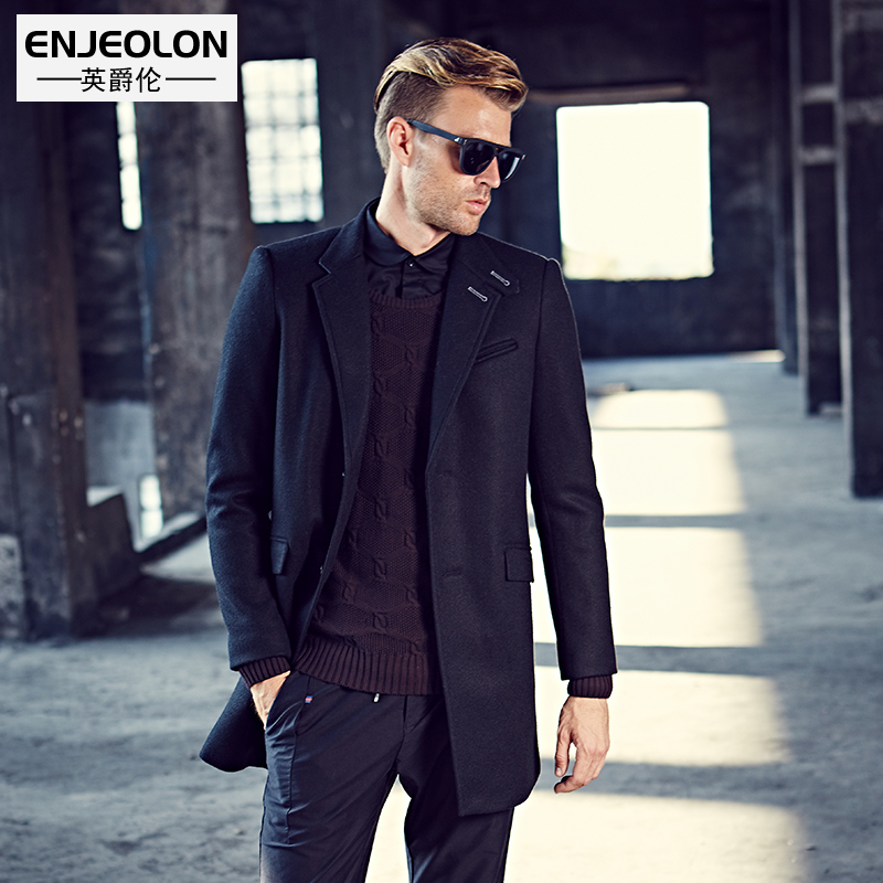 Enjeolon brand Men's casual Long Wool Blends New Male Single Breasted woolen black coats outwear Windbreaker caot jacket WT0819