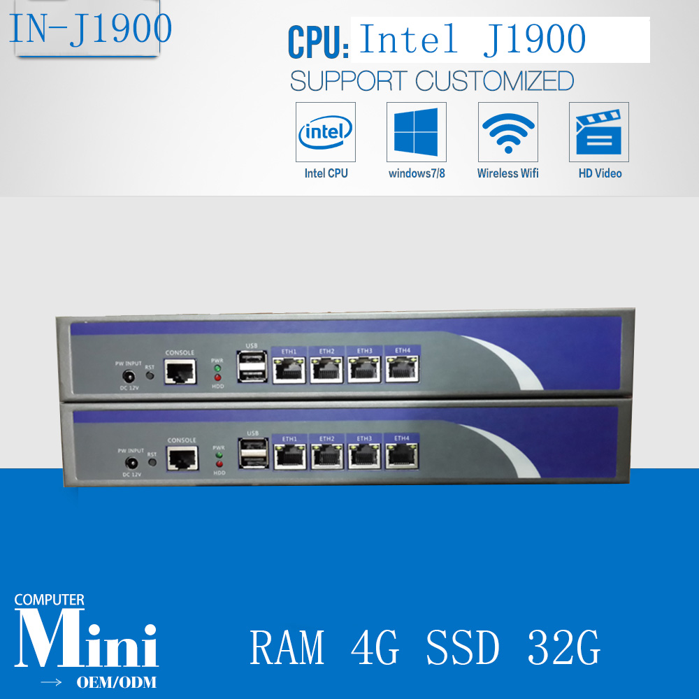 Cheap 4 Lan Ethernet Firewall  Baytrail  Network Security J1900 2.0GHZ  Quad Core Network Server Device With RAM 4G SSD 32G