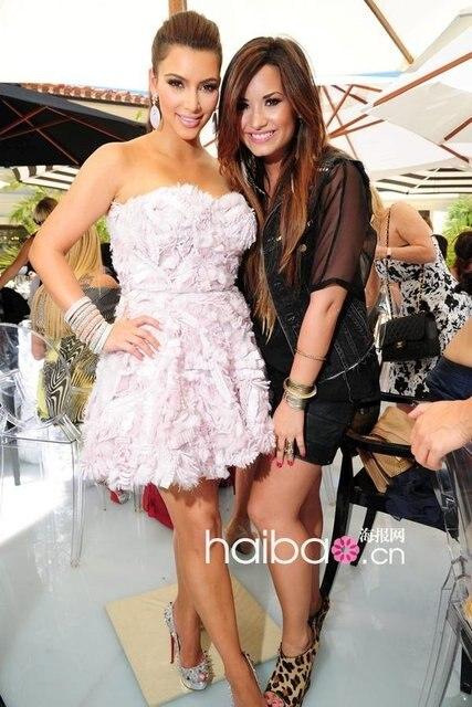 Kim Kardashian Pink Strapless Ruffle Long Floor Length Organza Hot ...