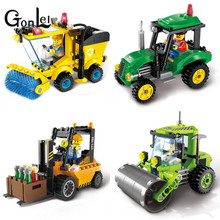 GonLeI ENLIGHTEN City Construction Road Roller Forklift Truck Tractor Sweeper Truck Building Blocks Kids Toy Compatible Legoings(China)