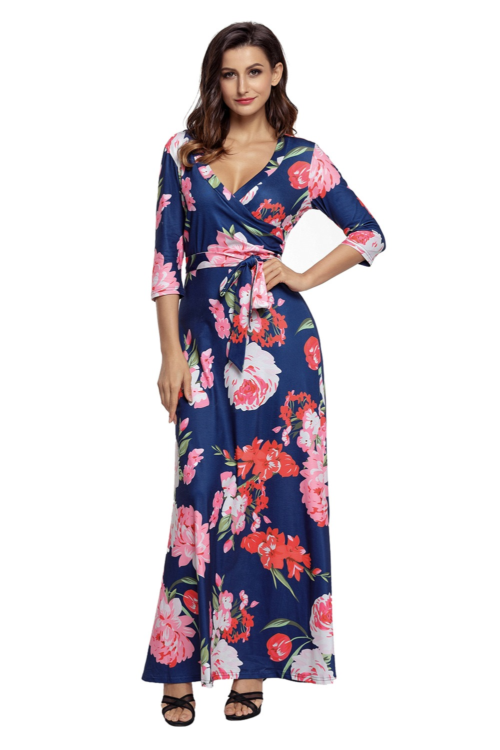 Navy Floral Print Long Dress