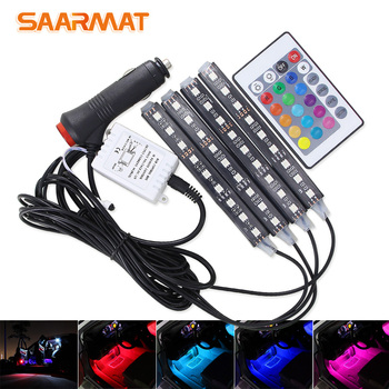 4Pcs Car RGB LED DRL Strip Light Car Auto Remote Control Interior Floor Decorative Flexible LED Strip Atmosphere Lamp Fog Lamp led car light car interior light strip 12v remote control led strip lights atmosphere lamp auto decorative light