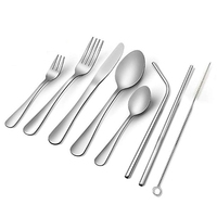 Silverware Set, 23 Piece Flatware Set, Stainless Steel Cutlery Tableware Dinnerware Utensil Set, Knives, Forks, Spoons, Straws