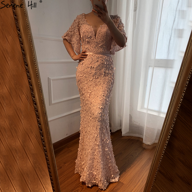 Sexy Mermaid Short Sleeves Luxury Evening Dresses Flowers Lace  Pearls Fashion Elegant Evening Gowns 2019 Serene Hill LA6311