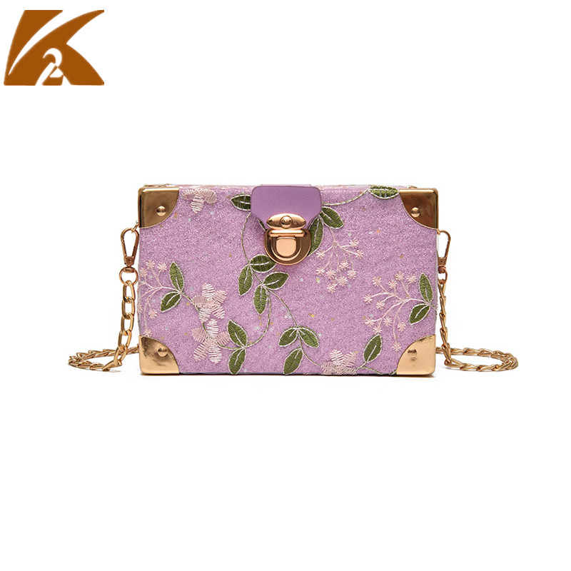 KVKY Summer Small Chain Box Bags for Women Messenger Bags Famous Designer Flowers Crossbody Bags Lady Party Clutch Shoulder Bag