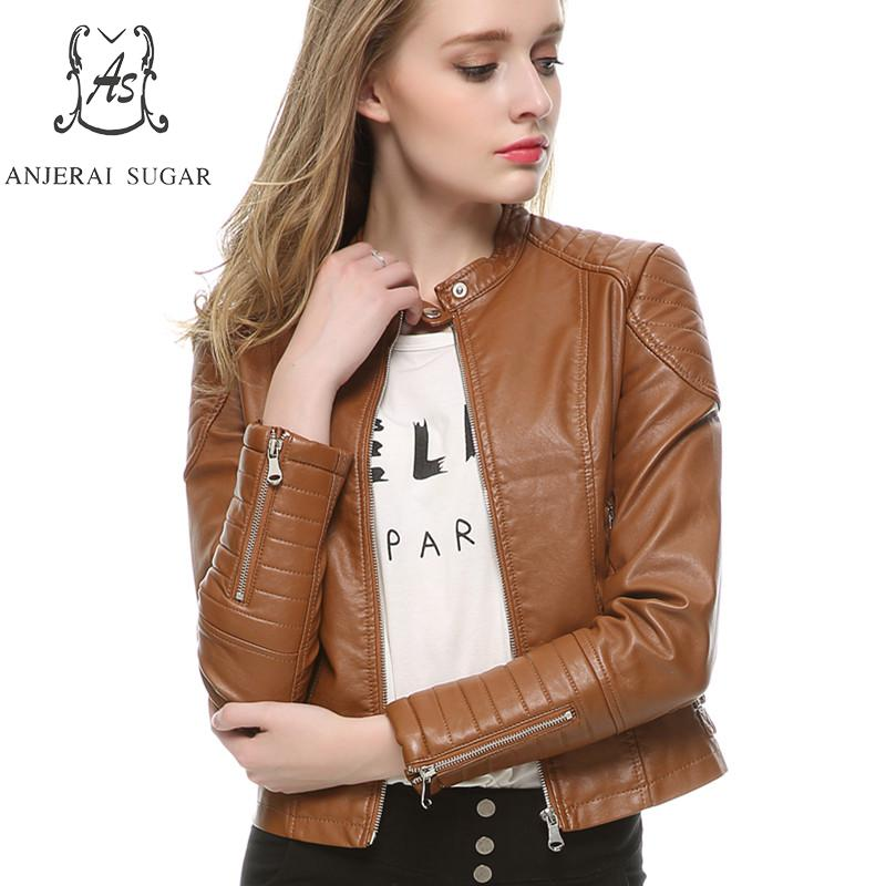 Spring PU Leather jacket Women Black brown fashion sexy Slim zipper Mandarin Collar motorcycle female Short Faux Leather coat