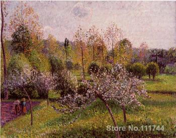 famous Camille Pissarro paintings Flowering Apple Trees Eragny Canvas art reproduction High quality Hand painted