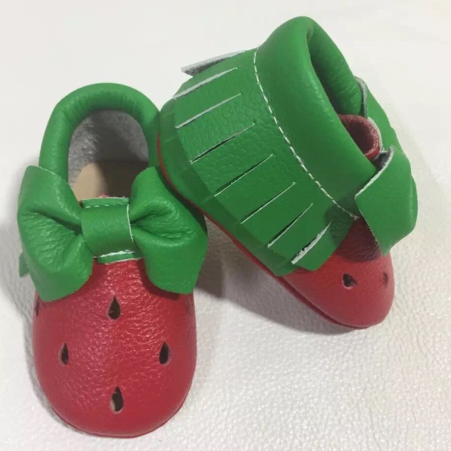Cuero genuino del estilo de calidad superior lindo Recién Nacido primeros caminante del bebé niñas zapatos infantiles zapatos de bebé mocasines