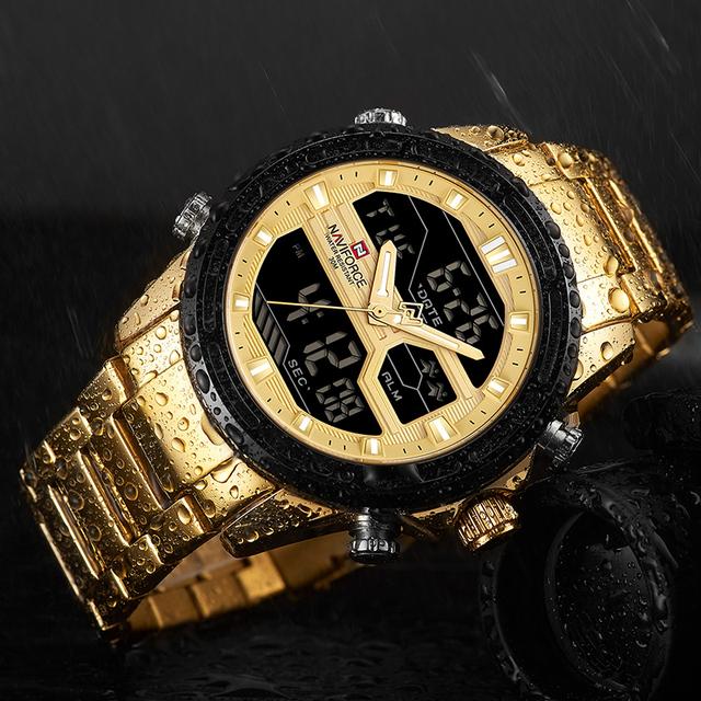 2018 New NAVIFORCE Men Fashion Sport Watches Men's Gold Quartz Watch Male Stainless Steel Waterproof LED Analog Digital Clock