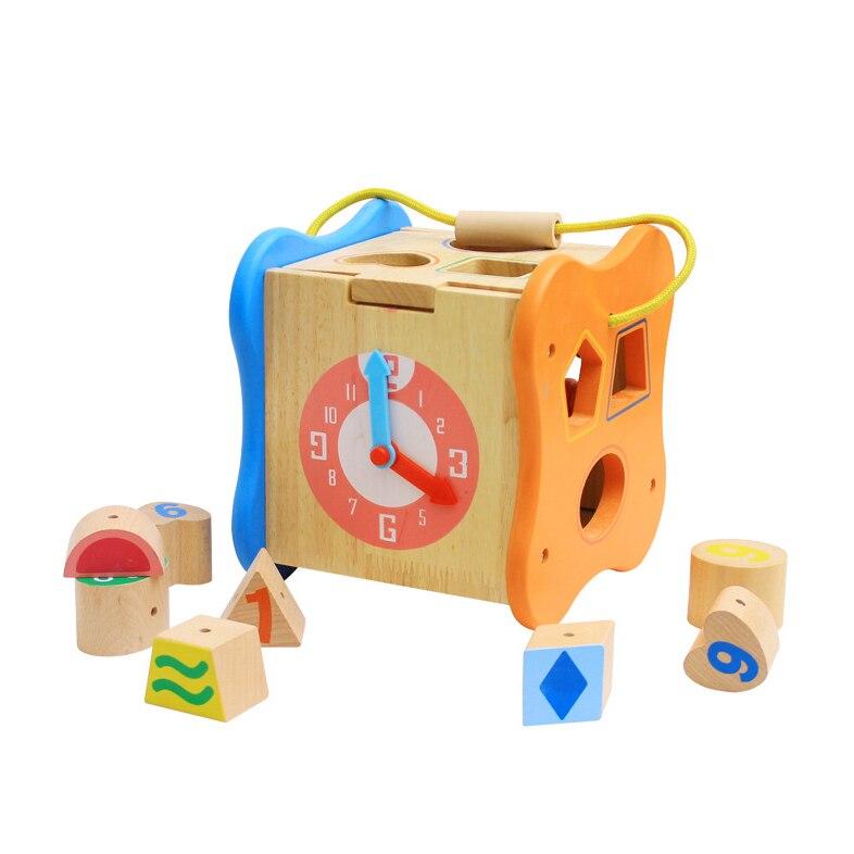 Chanycore bébé apprentissage jouets éducatifs en bois forme géométrique blocs boîte perles horloge tri correspondant ww Montessori cadeaux 4106 - 2