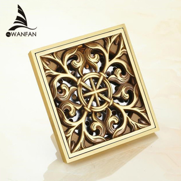 Drains 10 Cm Square Antique Brass Shower Drain Hair Strainer Art Carved  Bathroom Accessories Waste Grate Floor Drain Cover 8704F In Drains From  Home ...