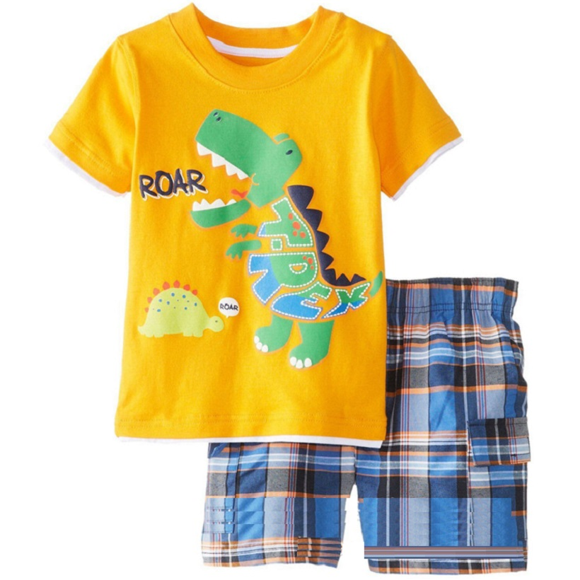 Yellow Dino Boy Clothes Set ROAR Children T-Shirt Plaid Pant Suit Kids Outfit 100% Cotton Tops Panties 2 3 4 5 6 7 Year Clothing 2017 cute kids girl clothing set off shoulder lace white t shirt tops denim pant jeans 2pcs children clothes 2 7y
