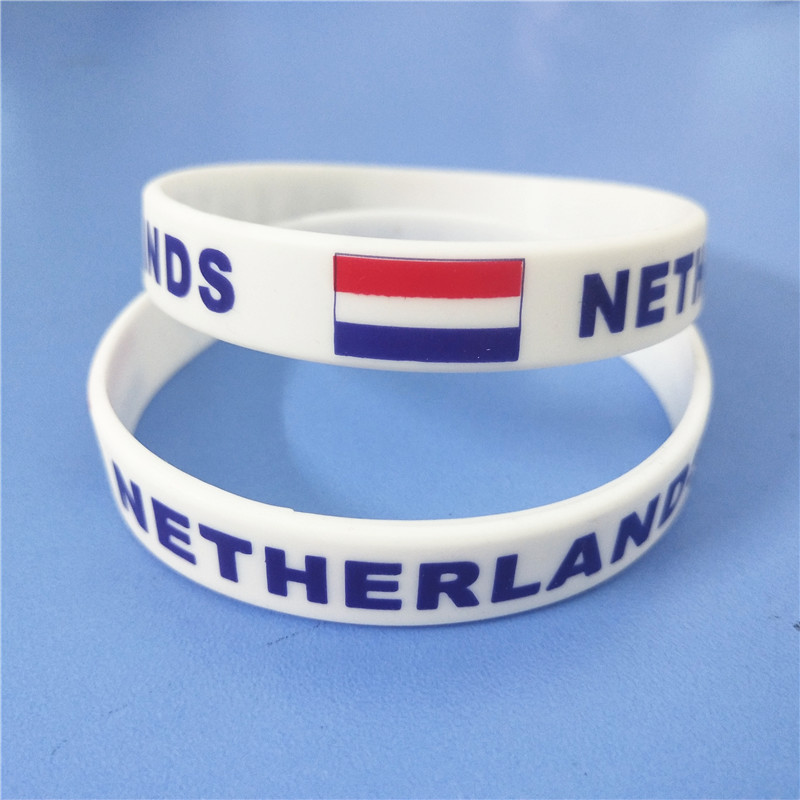 1PC Netherlands Flag Silicone Wristband White Nederlands Football Sports Souvenir Silicone Rubber Bracelets&Bangles Gifts SH223