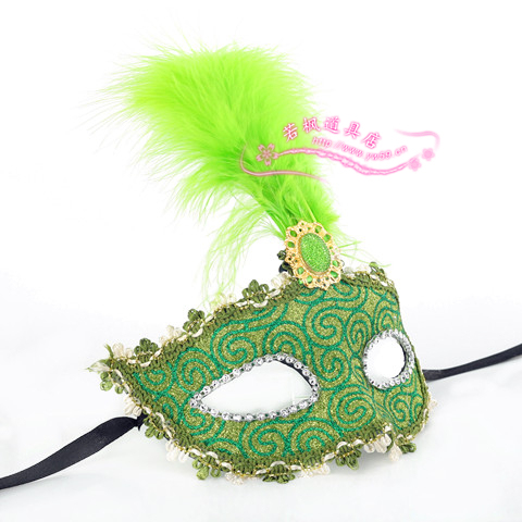 Green halloween masquerade masks cloth colored drawing feather mask