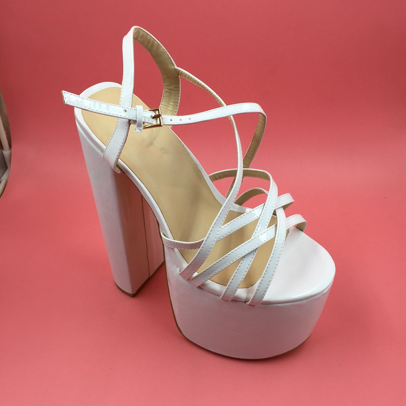 2edc9942827 White Patent Leather Customized Wide Women Sandals Thick Platform ...