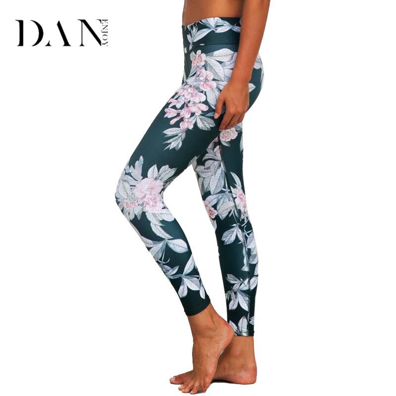 DANENJOY Quick Dry Printed Yoga Pants Women High Waist Floral Fitness Leggings Sport Running Tights Push Hip Sportswear 2017 Лосины