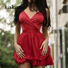 Kakan sexy low-cut lace dress women's fashion cross V-neck waist petal pleated dress red black dress pleated panel high low dress