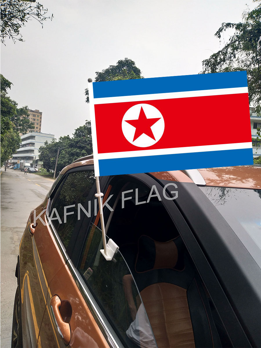 KAFNIK,30*45CM north korea Window Car Flags and Banners Countries World Custom Flags with 43/52cm flagpole for car decoration image