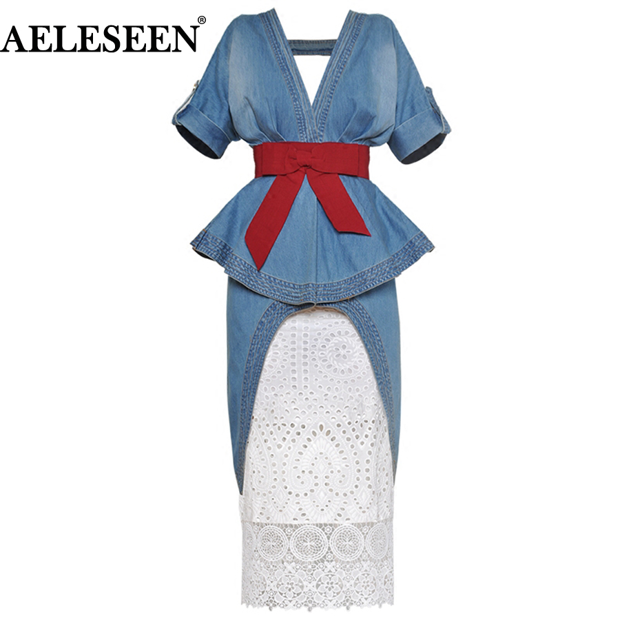 AELESEEN Top Quality Runway 2 Piece Skirt Suit Women Sexy Ruffles Irregular Patchwork Top Luxury Lace