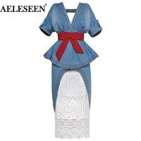AELESEEN Top Quality Runway 2 Piece Skirt Suit Women Sexy Ruffles Irregular Patchwork Top + Luxury Lace Fashion Runway Denim Set