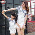 2016 mother daughter matching dresses summer style mommy and me clothes women   Striped t-shirt strap dress