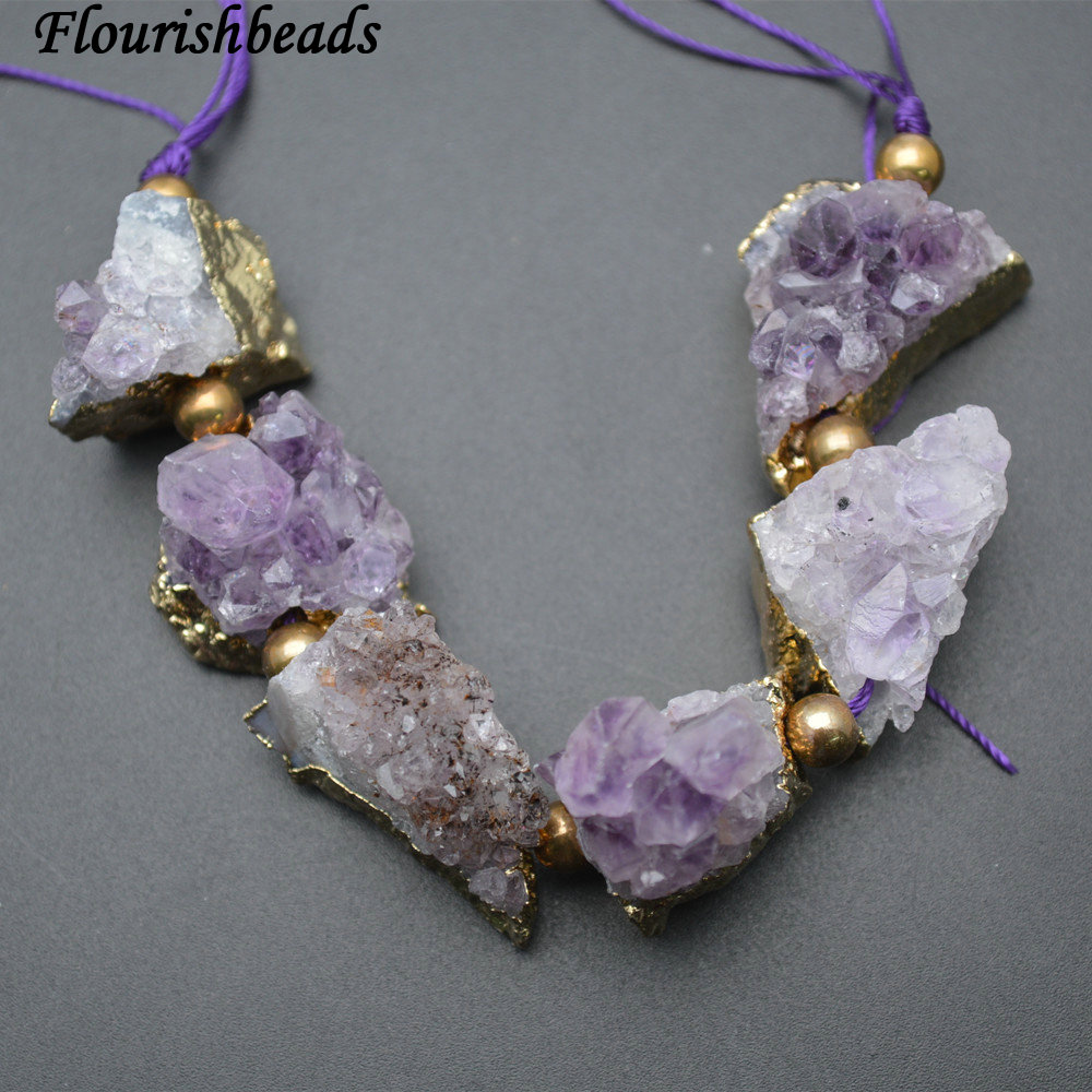 Natural Drusy Amethyst Freeform Nugget Rough Mineral Stone Loose Beads Jewelry ...
