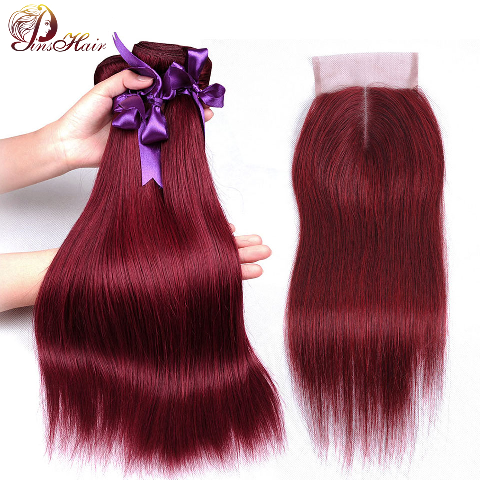 Pre Colored Blod Red 99J Human Hair Bundles With Closure Burgundy Brazilian Straight Hair Bundles With